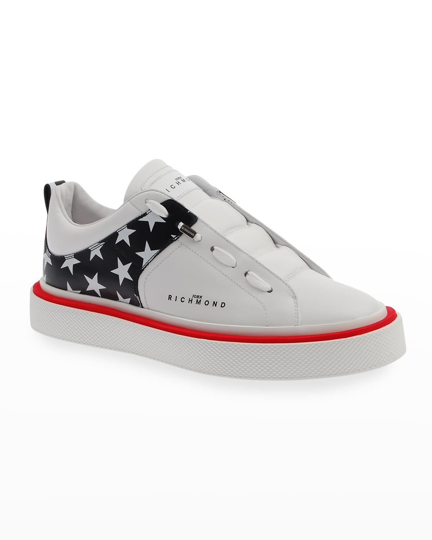 Men's Tricolor Star-Print Low-Top Sneakers