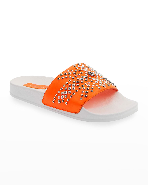Studded Bicolor Pool Slide Sandals
