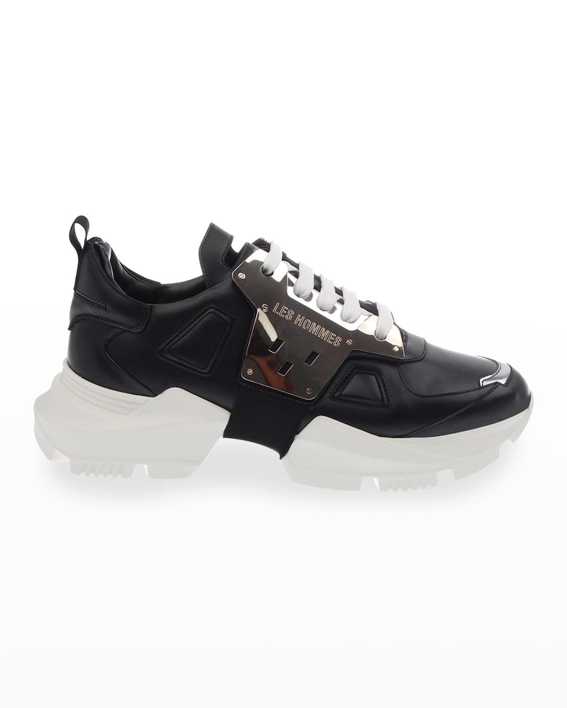 Men's Metallic Leather Chunky Low-Top Sneakers