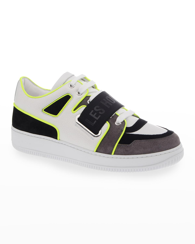 Men's Mix-Media Elastic Logo Low-Top Sneakers