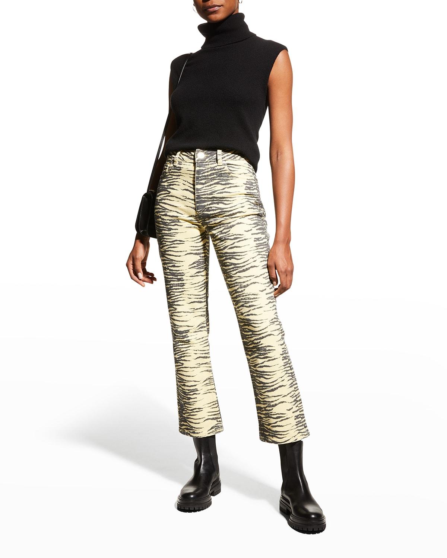 Cropped Printed Denim Jeans