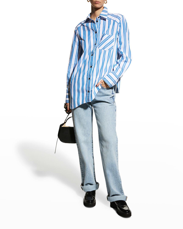 Striped Cotton Asymmetric Button-Down Shirt