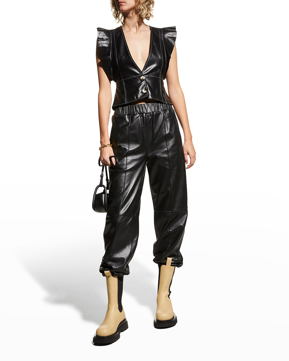 V-Neck Lamb Leather Top