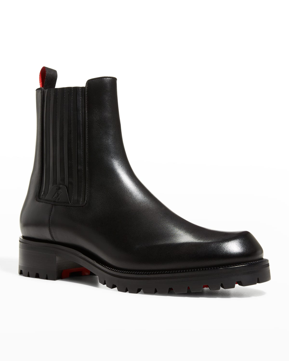 Men's Pleated Leather Red-Sole Chelsea Boots