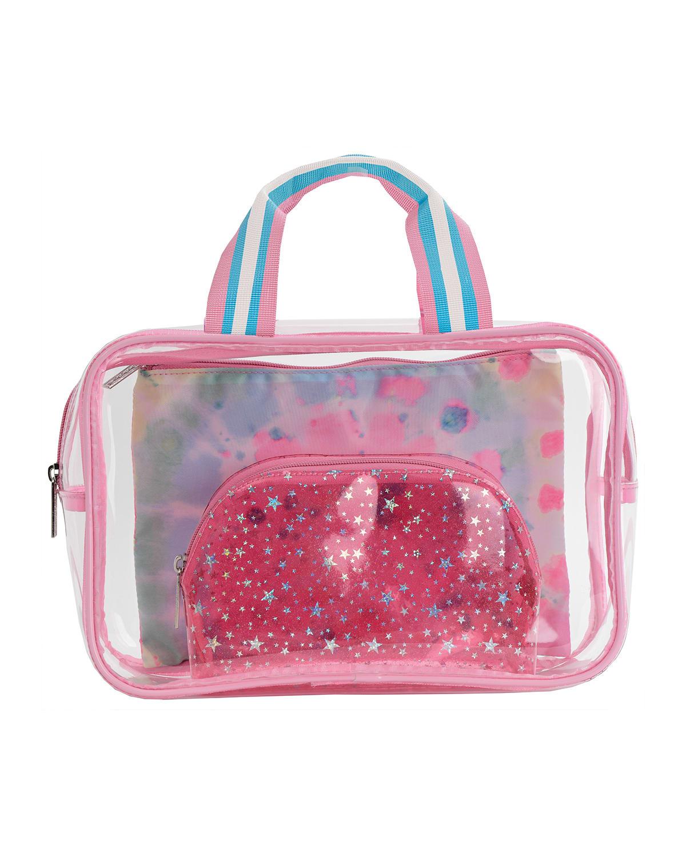 Girl's 3-Piece Swirl Tie-Dye Cosmetic Bag