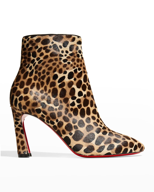 So Eleonor Leopard-Print Red Sole Booties