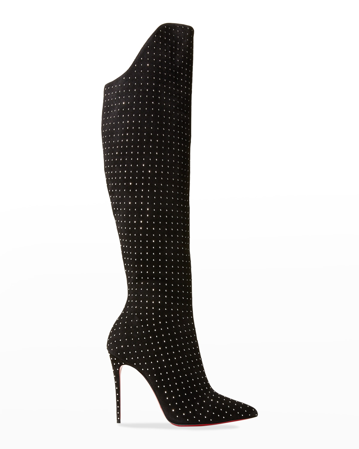 Studded Suede Red Sole Knee Boots