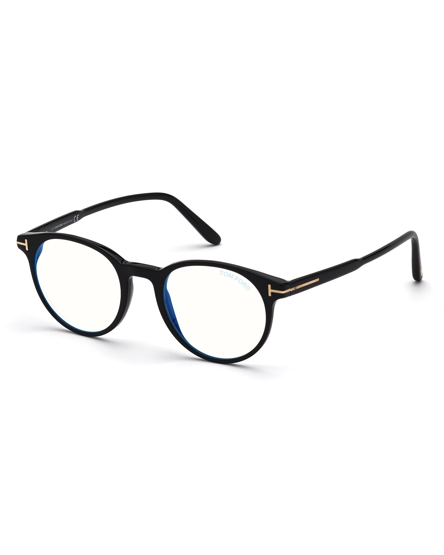 Men's Ft5695 49 mm Blue-Block Optical Frames