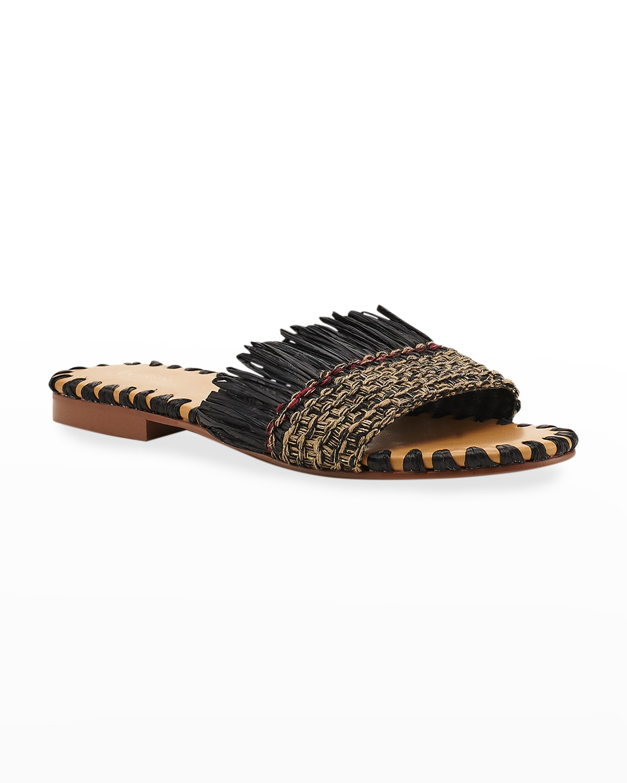 Bailee Straw Flat Slide Sandals