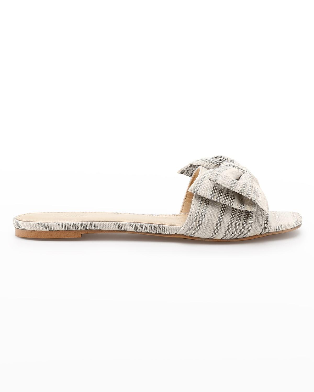 Melissa Striped Bow Flat Sandals