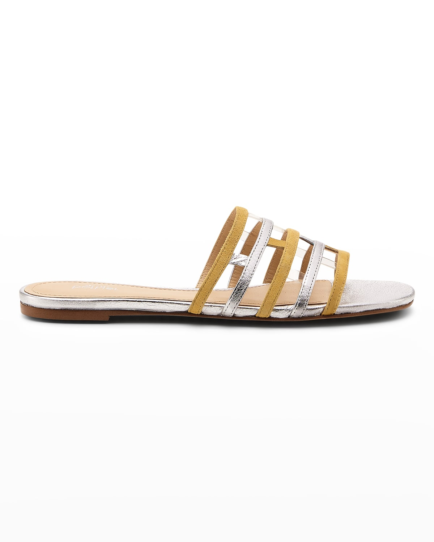 Brandy Bicolor Leather Flat Sandals