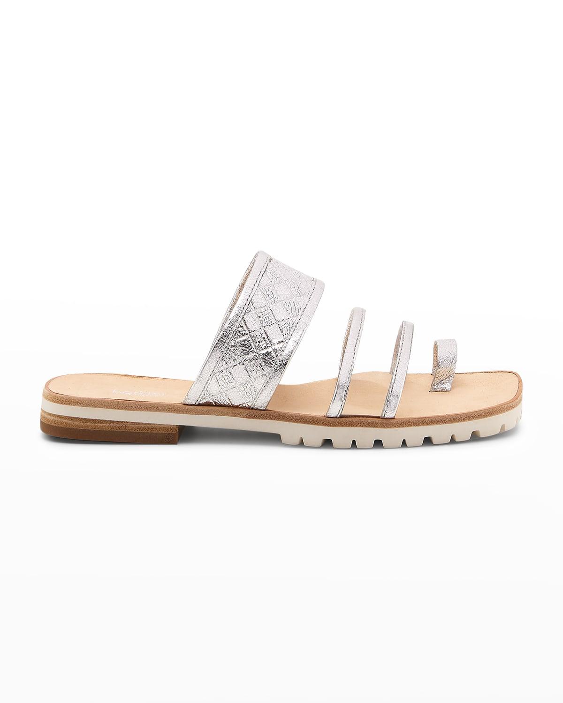 Maya Metallic Toe-Ring Slide Sandals
