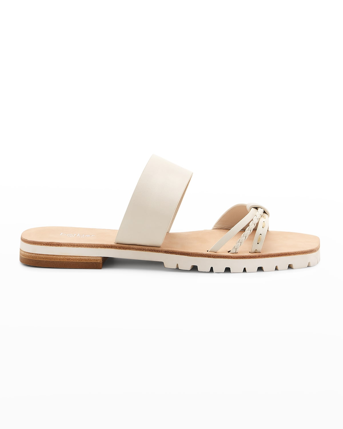 Mindy Braided Leather Flat Sandals