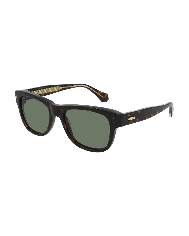 Men's Rectangle Havana Acetate Sunglasses