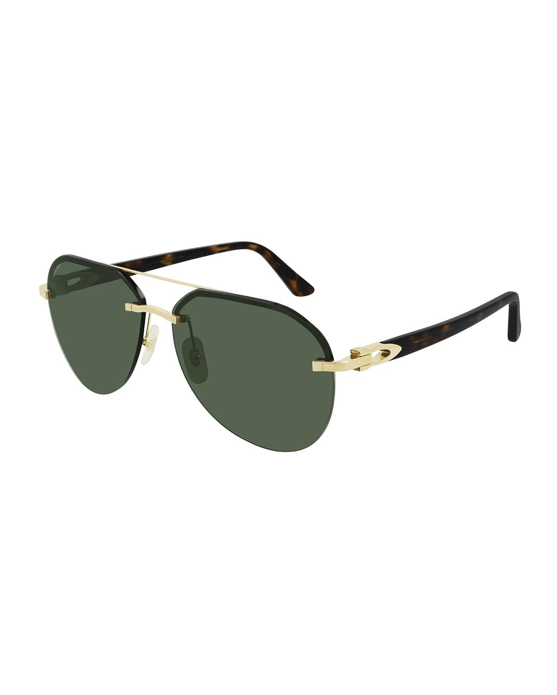 Men's Metal Double-Bridge Aviator Sunglasses