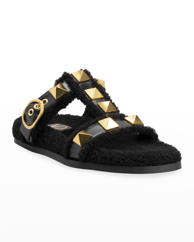 Roman Stud Shearling Slide Sandals