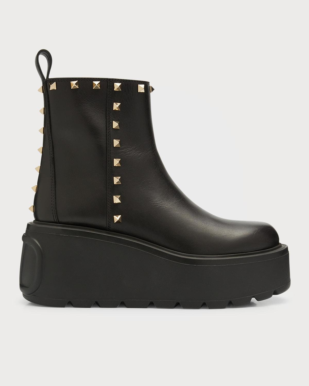 Uniqueform Rockstud Leather Chelsea Platform Booties