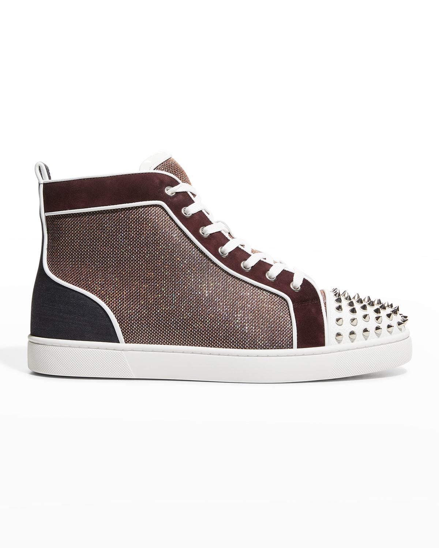 Men's Lou Spike Metallic Mesh Red Sole High-Top Sneakers