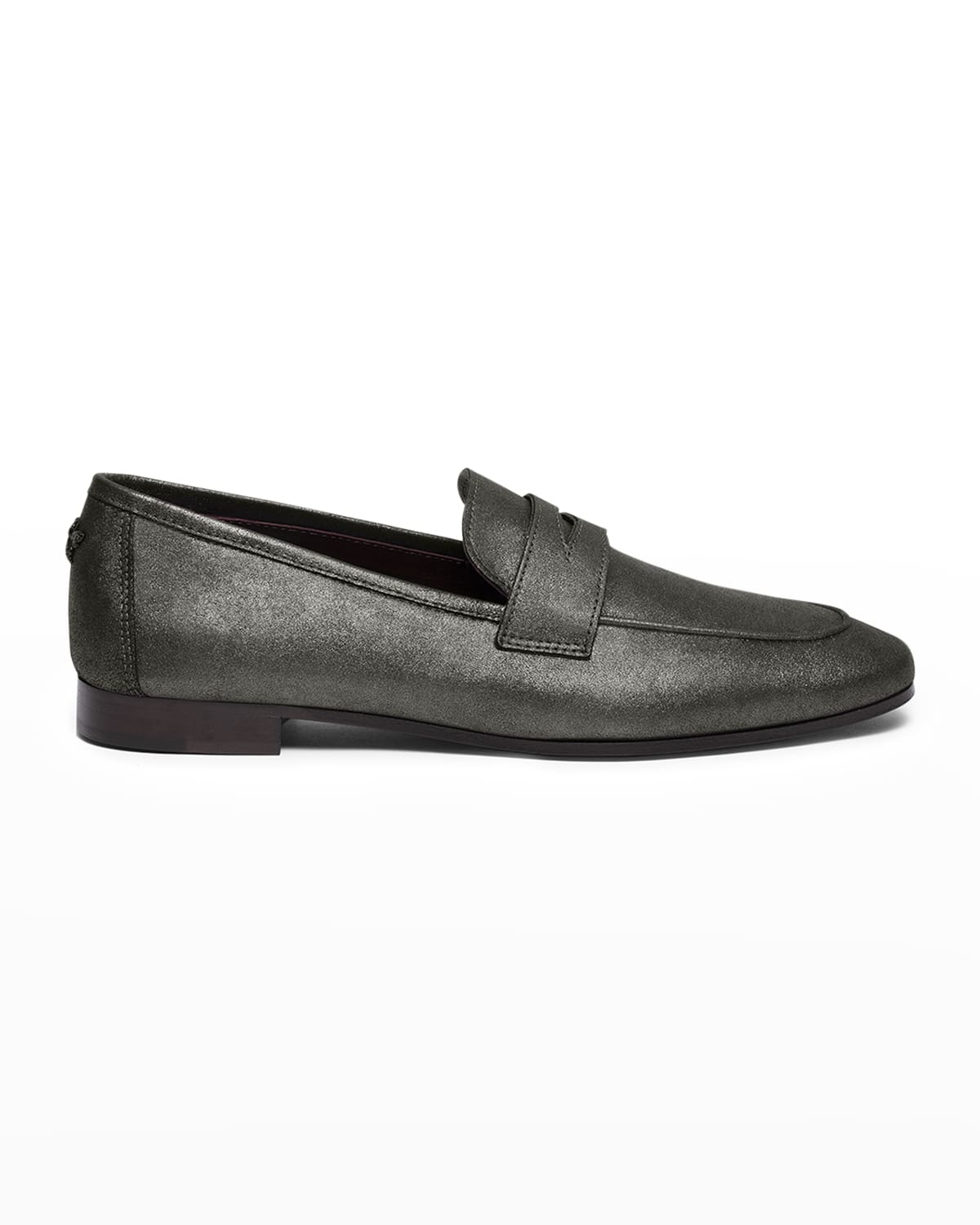 Brushed Metal Leather Penny Loafers
