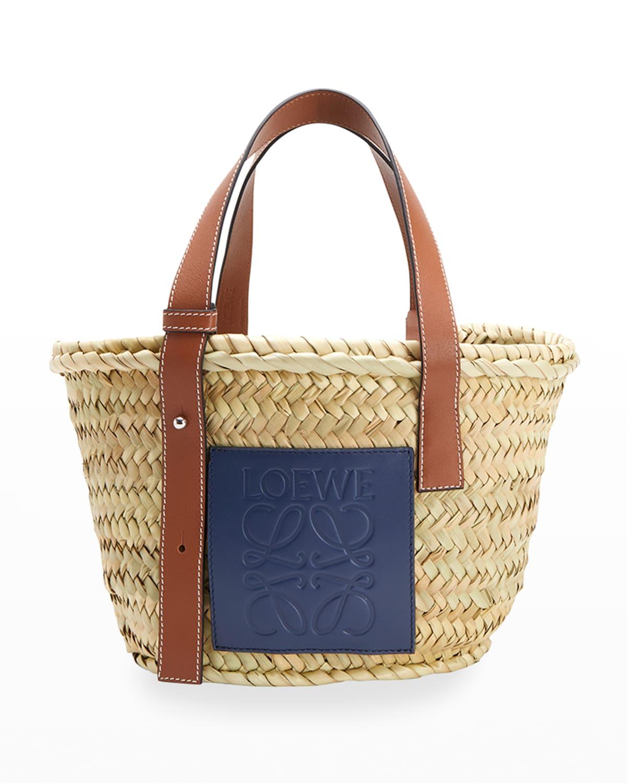 x Paula's Ibiza Small Palm Leaf Basket Tote Bag