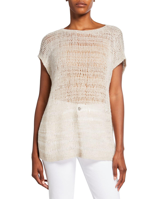 Bateau-Neck Lofty Open-Stitch Sweater