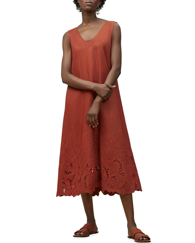 Harper Linen Embroidered-Hem Midi Dress