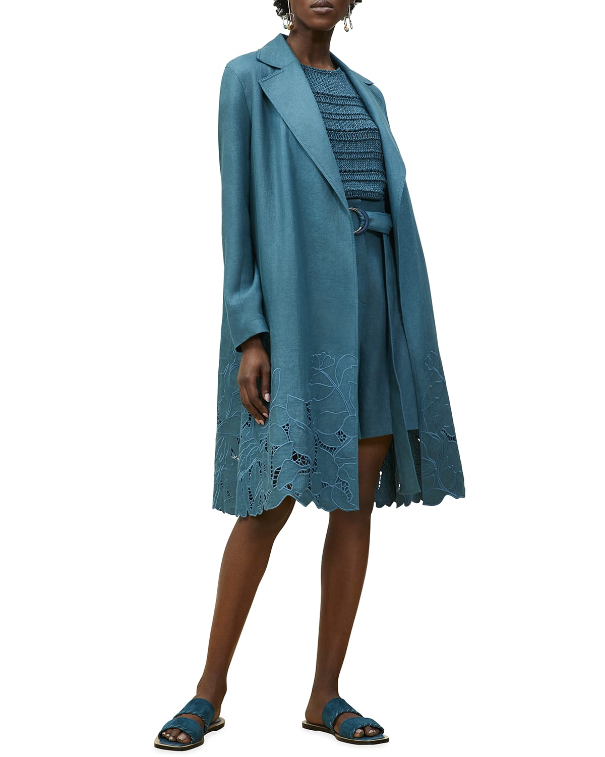 Liliana Trench Coat with Embroidery