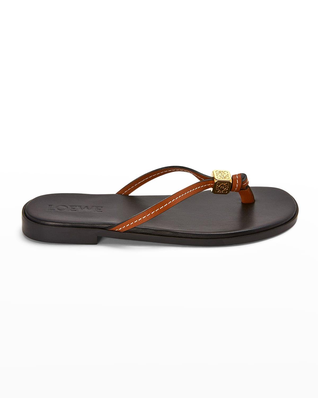 Dice Leather Flip Flop Thong Sandals