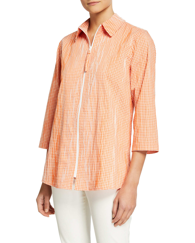 Zip-Front Crinkle Gingham Shirt