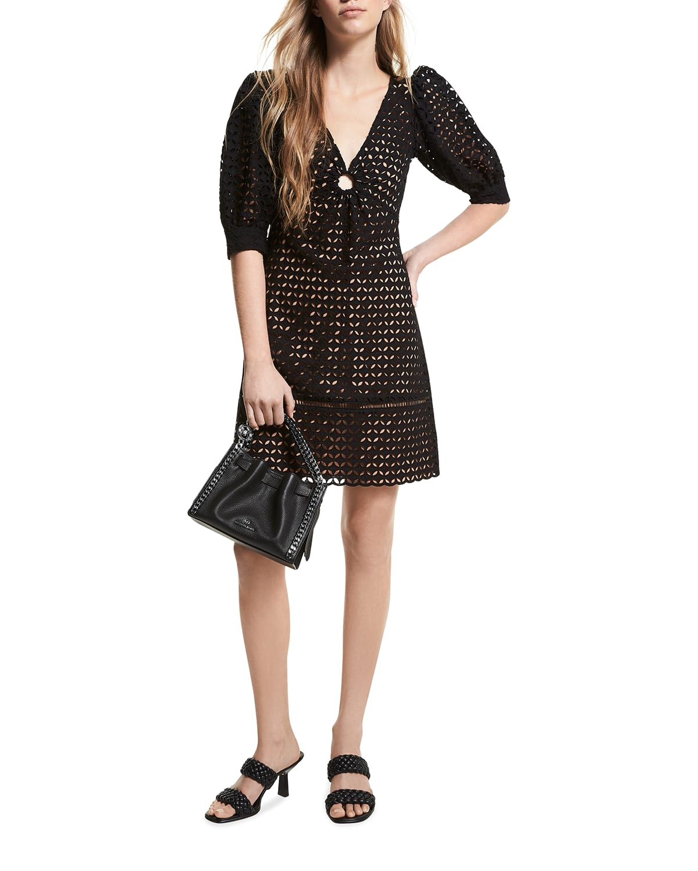 Geo Eyelet Puff-Sleeve Mini Dress