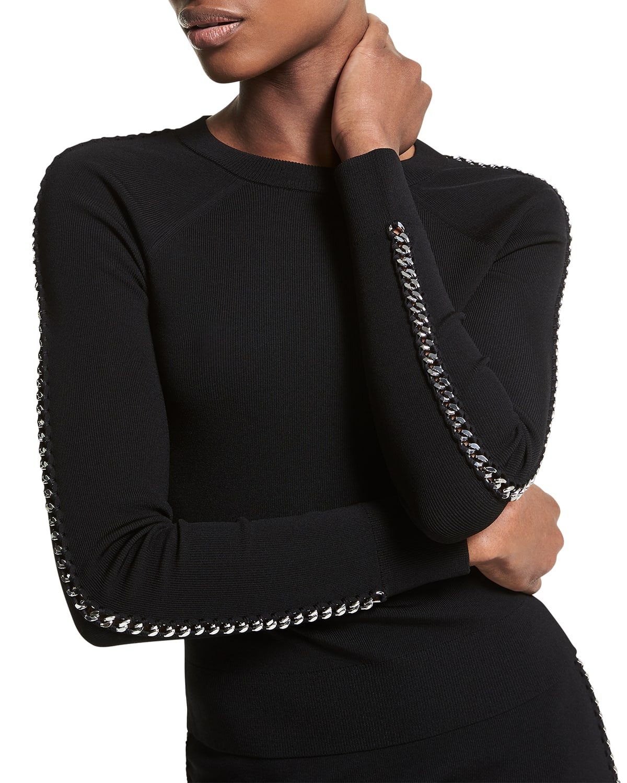 Chain Lace-Up Raglan Sweater