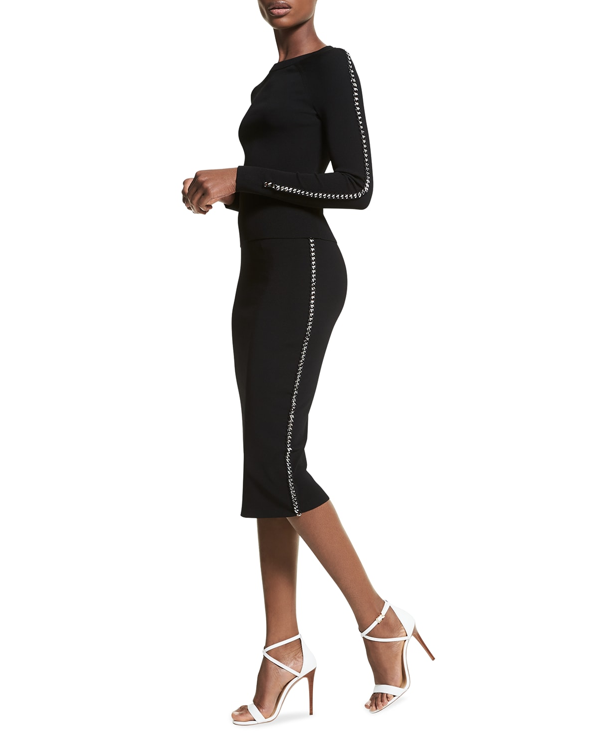Chain Lace-Up Pencil Skirt