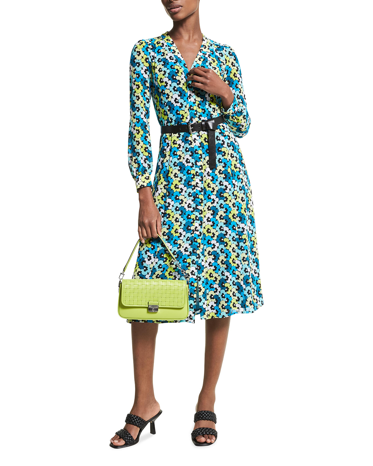 Kate 60s Floral Long-Sleeve Belted Dress
