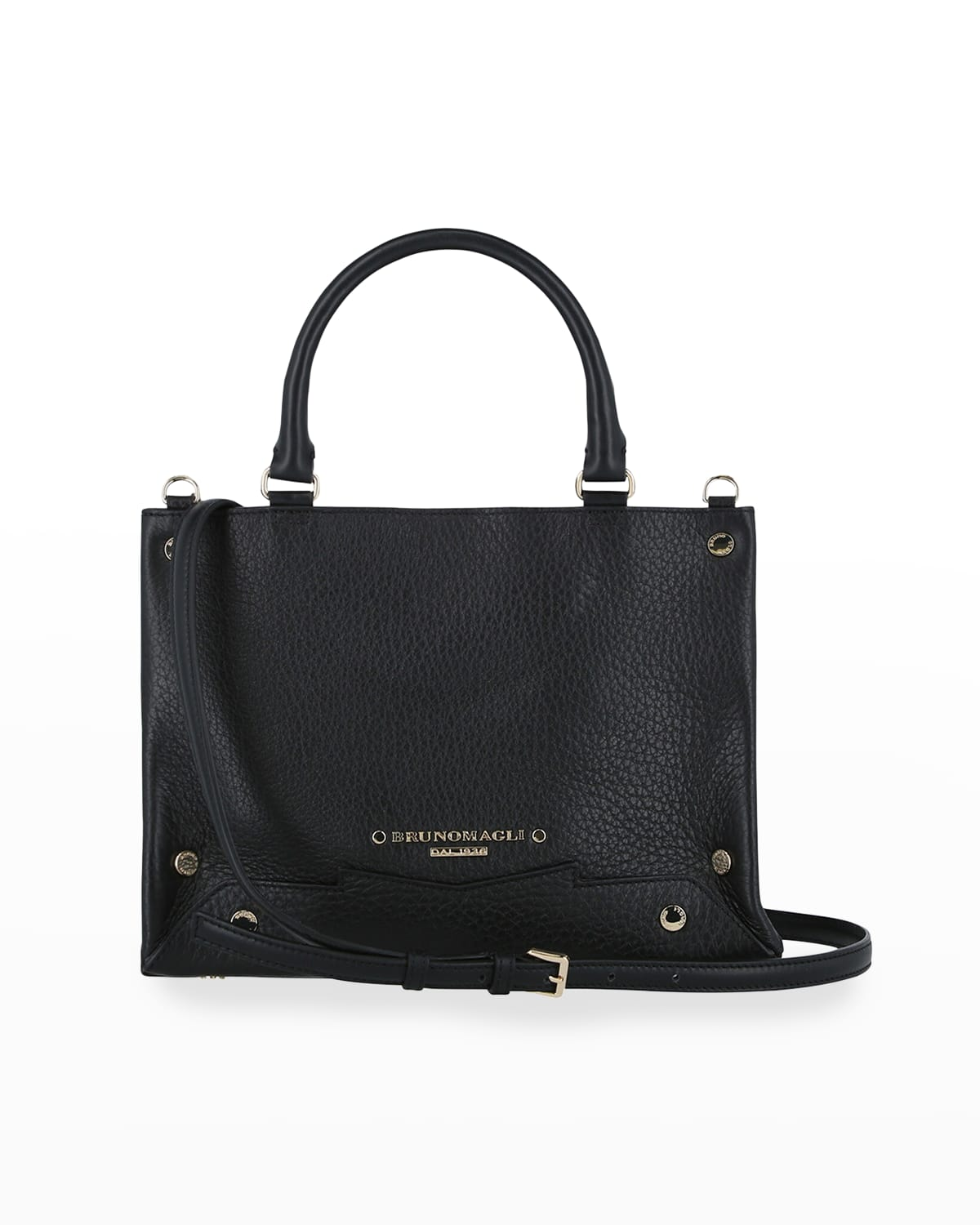 Small Studded Leather Tote Crossbody Bag