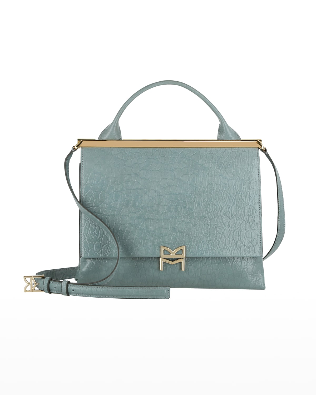 Concertina Croc-Emossed Top-Handle Bag