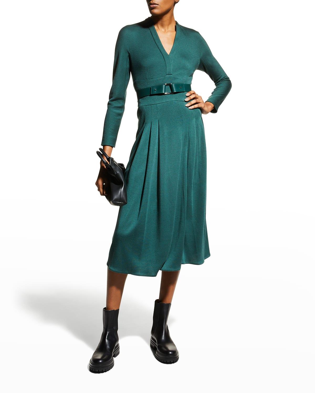 Belted Cashmere-Silk Jersey Midi Dress