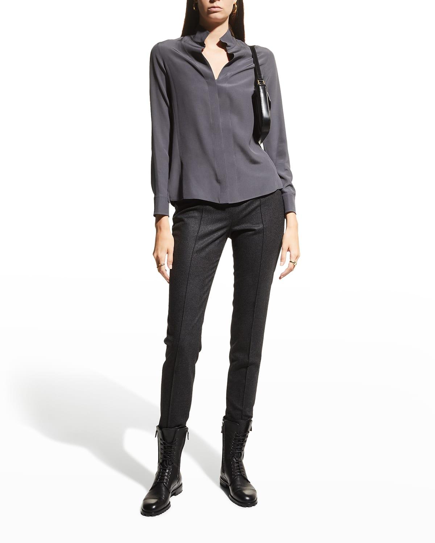 Melissa Wool Flannel Slim-Leg Pants
