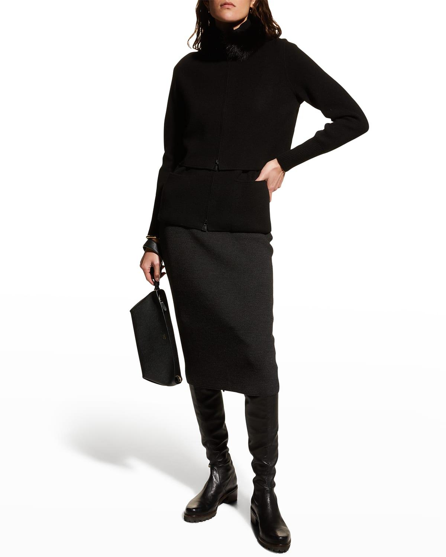 Ribbed Wool Midi Skirt