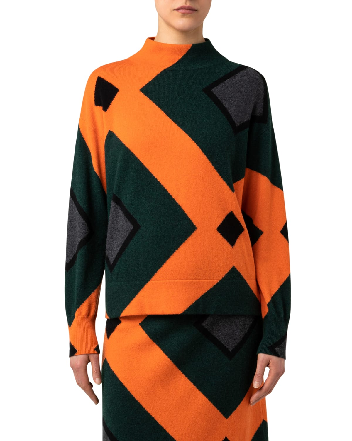 Tiled Roof Intarsia Cashmere Sweater