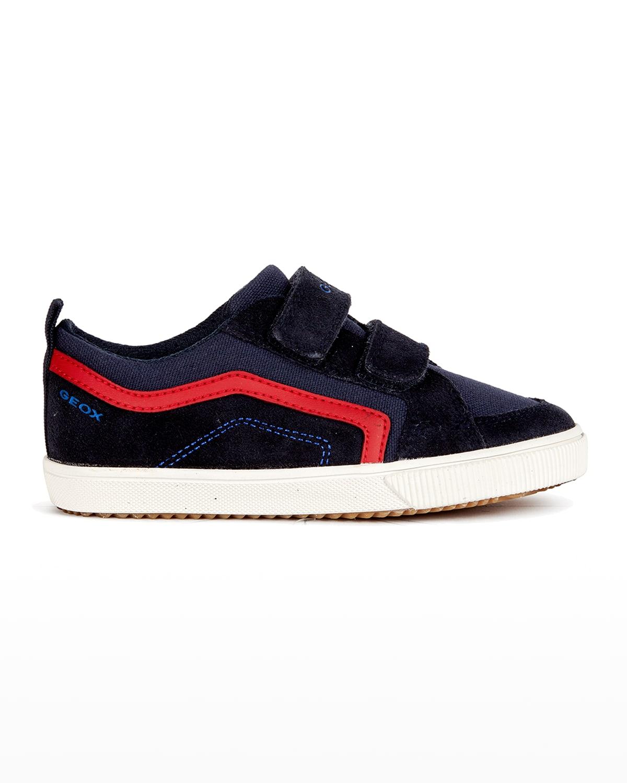 Boy's Alonisso Suede & Canvas Grip-Strap Sneakers