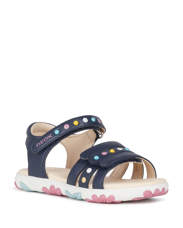 Girl's Haiti Multicolor Stud Floral-Sole Sandals