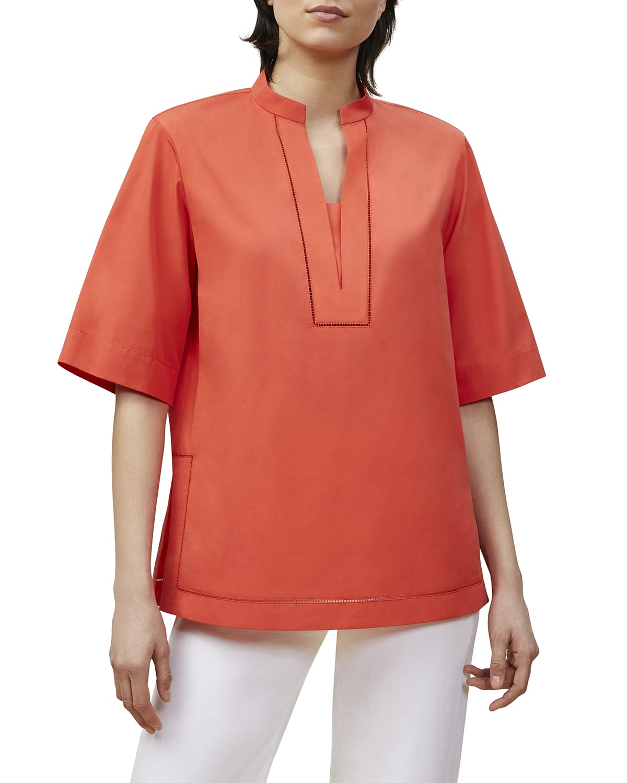 Etta Elbow-Sleeve Cotton Shirt