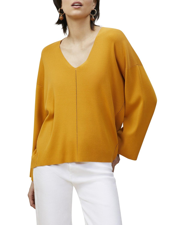 V-Neck Pointelle Sweater