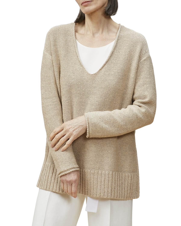 Wide V-Neck Sweater w/ Sequins