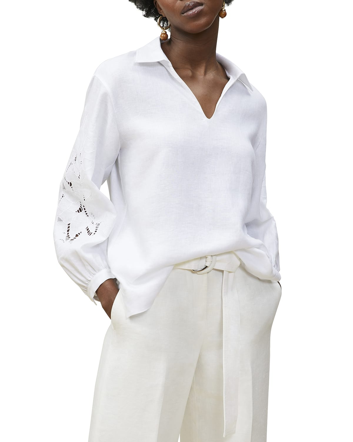 Parker Collared Blouse w/ Embroidery