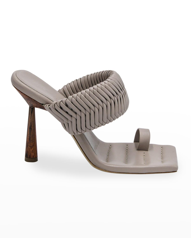 Woven Toe-Ring Slide High-Heel Sandals