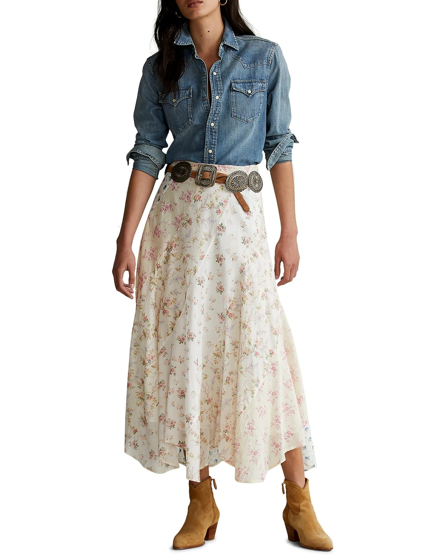 Paneled Floral Patchwork Maxi Skirt
