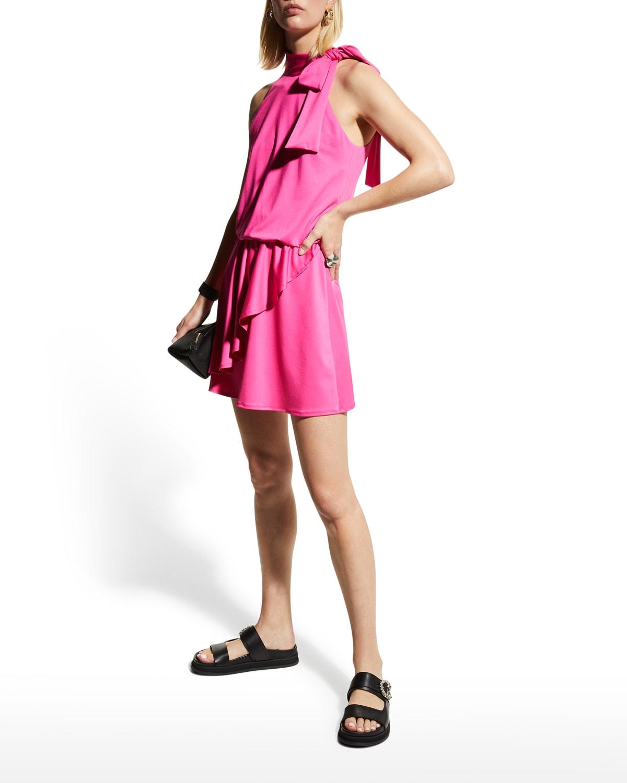 Pike High-Neck Drape-Front Mini Dress