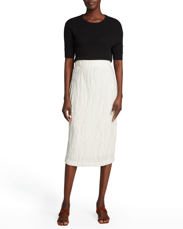 Mya Textured Midi Pencil Skirt