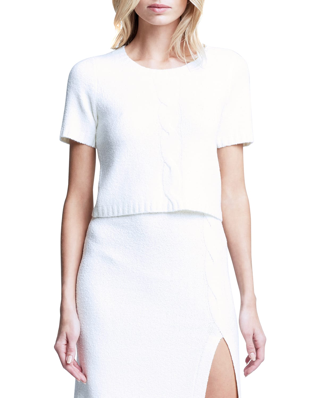 Liz Boucle Short-Sleeve Sweater